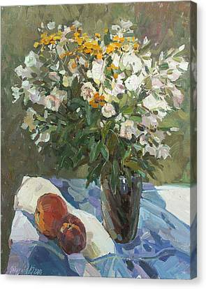 Flowers And Peaches Canvas Print by Juliya Zhukova