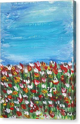 Flowers In Garden Canvas Print by Yvo Tenerife