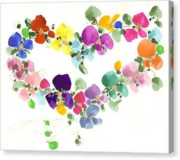 Flowers In My Heart Canvas Print by Darlene Flood