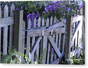 Flowers On A Fence Canvas Print by Nancy Greenland