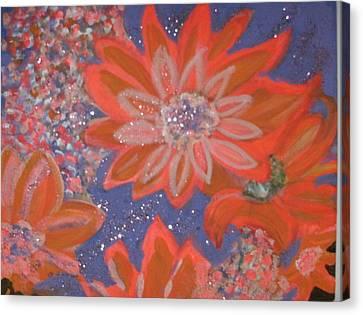 Flying Orange Flowers On Blue Canvas Print by Anne-Elizabeth Whiteway