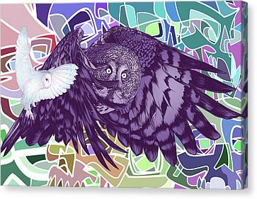 Flying Over Skulls Canvas Print by Nelson Dedos Garcia
