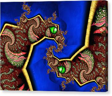 Foerever Twin Dragons Canvas Print by Josette Dery