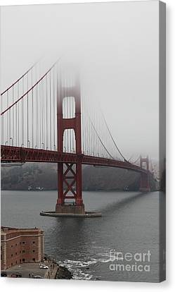 Fog At The San Francisco Golden Gate Bridge - 5d18869 Canvas Print by Wingsdomain Art and Photography