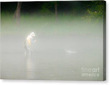 Fog Fishing Canvas Print by Cindy Tiefenbrunn