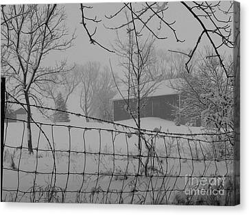 Foggy Day At The Barn Canvas Print by David Bearden