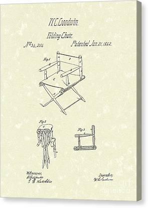 Folding Chair 1862 Patent Art  Canvas Print by Prior Art Design