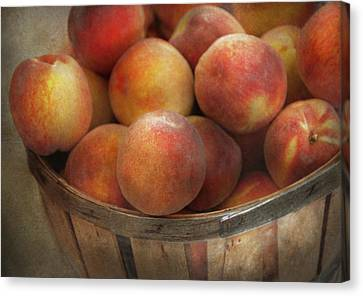 Food - Peaches - Just Peachy Canvas Print by Mike Savad
