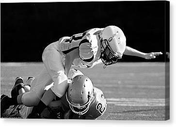 Football In Black And White Canvas Print by Susan Leggett