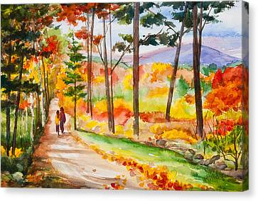 Forever Autumn Watercolor Painting Canvas Print by Michelle Wiarda