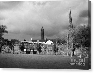 Former Castle And Bishops Palace And Workhouse Site With Cathedral And Round Tower Killala Canvas Print by Joe Fox