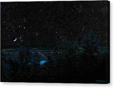 Fort Collins Colorado At Night Canvas Print by Ric Soulen