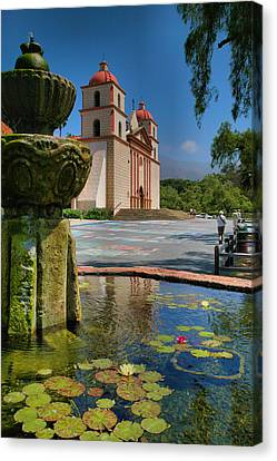 Fountain And Mission Canvas Print by Steven Ainsworth