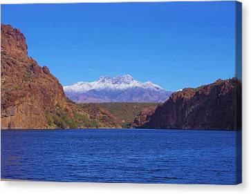 Four Peaks In Winter Canvas Print by David Rizzo