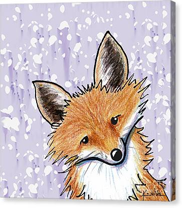 Fox On Lavender Canvas Print by Kim Niles