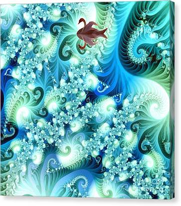 Fractal And Swan Canvas Print by Odon Czintos
