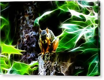 Fractal - Sitting On A Stump - Robbie The Squirrel - 2831 Canvas Print by James Ahn