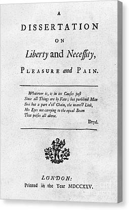 Franklin: Title Page, 1725 Canvas Print by Granger