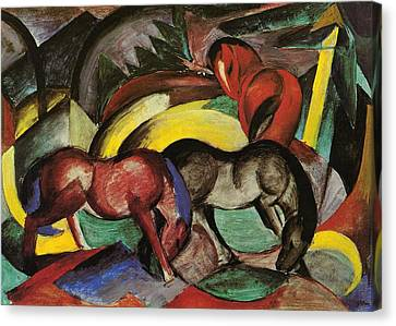 Franz Marc  Canvas Print by Three Horses