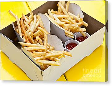 French Fries In Box Canvas Print by Elena Elisseeva