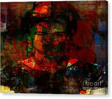 Frida In Mixed Media Canvas Print by Fania Simon