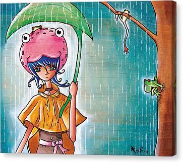 Frog Girl Canvas Print by Jen Kiddo