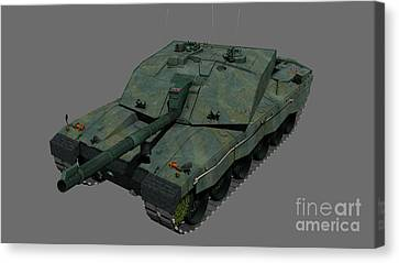 Front View Of A British Challenger II Canvas Print by Rhys Taylor