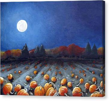 Frosty Harvest Moon Canvas Print by Sharon Marcella Marston