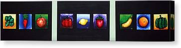 Fruit And Veggies Canvas Print by Alison  Galvan