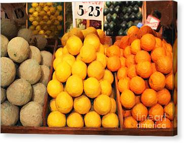 Fruit Market - Painterly - 7d17401 Canvas Print by Wingsdomain Art and Photography
