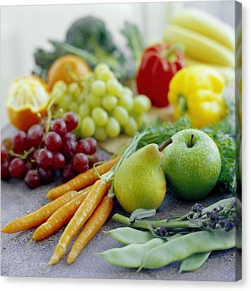 Fruits And Vegetables Canvas Print by David Munns