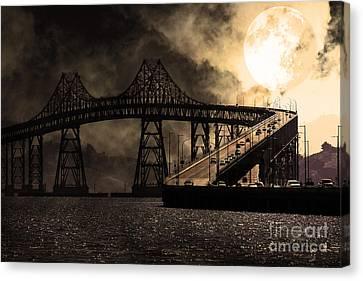 Full Moon Surreal Night At The Bay Area Richmond-san Rafael Bridge - 5d18440 - Sepia Canvas Print by Wingsdomain Art and Photography