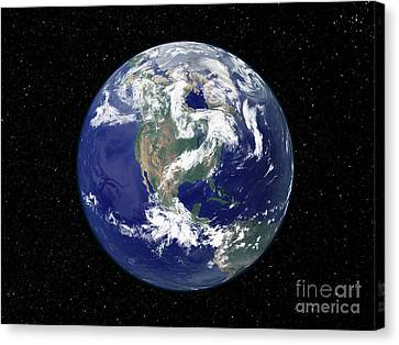 Fully Lit Earth Centered On North Canvas Print by Stocktrek Images