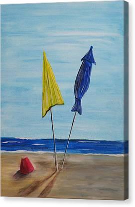 Funbrellas Plus One Canvas Print by Wayne Miller