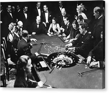 Gambling In Monte Carlo, On The French Canvas Print by Everett
