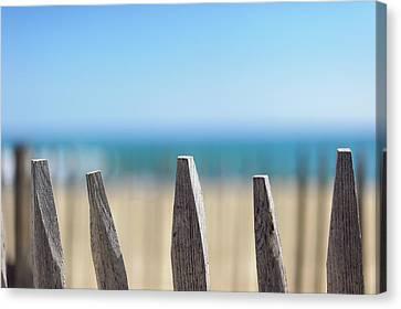Ganivelles At Ste Maxime Beach, Golfe De St-tropez Canvas Print by Alexandre Fundone