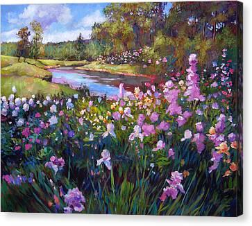 Garden Along The River Canvas Print by David Lloyd Glover