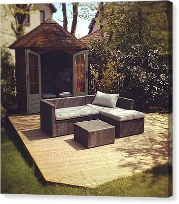 Sofa Canvas Print featuring the photograph #garden #hideout #sofa #furniture by Grace Shine