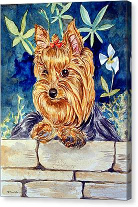Garden Sprite - Yorkshire Terrier Canvas Print by Lyn Cook