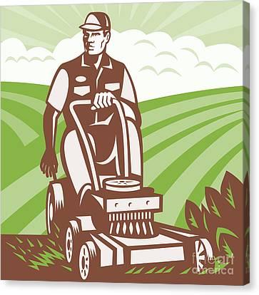 Gardener Landscaper Riding Lawn Mower Retro Canvas Print by Aloysius Patrimonio