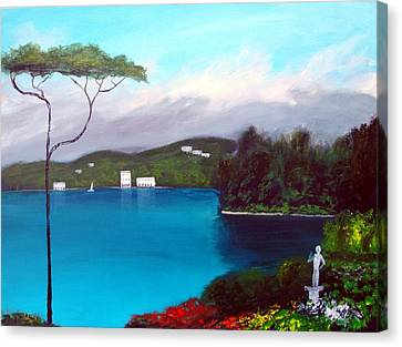 Gardens Of Lake Como Canvas Print by Larry Cirigliano