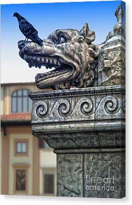 Gargoyle And Pidgeon Canvas Print by Gregory Dyer