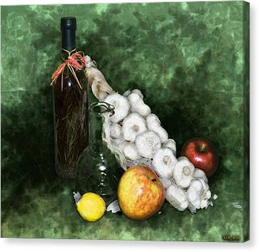 Garlic And The Apples Canvas Print by Kelly Rader