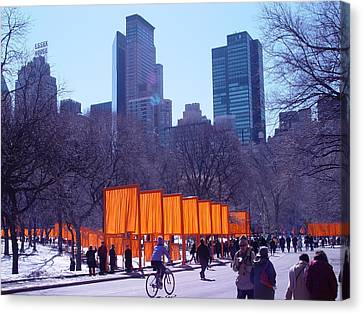 Gates And Snow In Central Park Canvas Print by Alton  Brothers