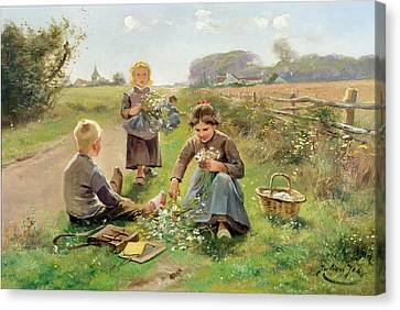 Gathering Flowers Canvas Print by Joseph Julien