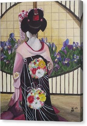Geisha With Iris Canvas Print by Kim Selig