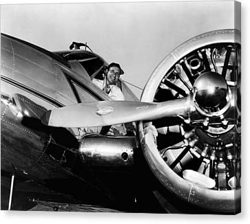 Gene Autry In His Airplane, 1955 Canvas Print by Everett