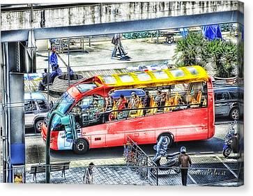 Genoa Sightseeing City Bus Canvas Print by Enrico Pelos
