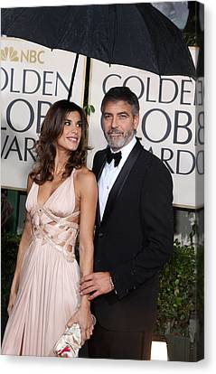 George Clooney, Elisabetta Canalis Canvas Print by Everett