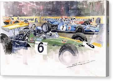 Germany Gp Nurburgring 1969 Canvas Print by Yuriy  Shevchuk